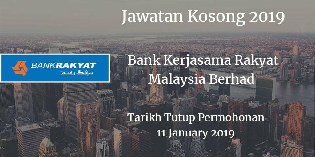 Jawatan Kosong Bank Kerjasama Rakyat Malaysia Berhad 11 January  2019