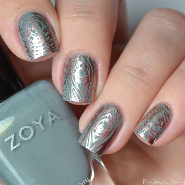 metallic woodgrain stamped nail art