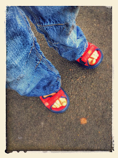 sandals in the rain