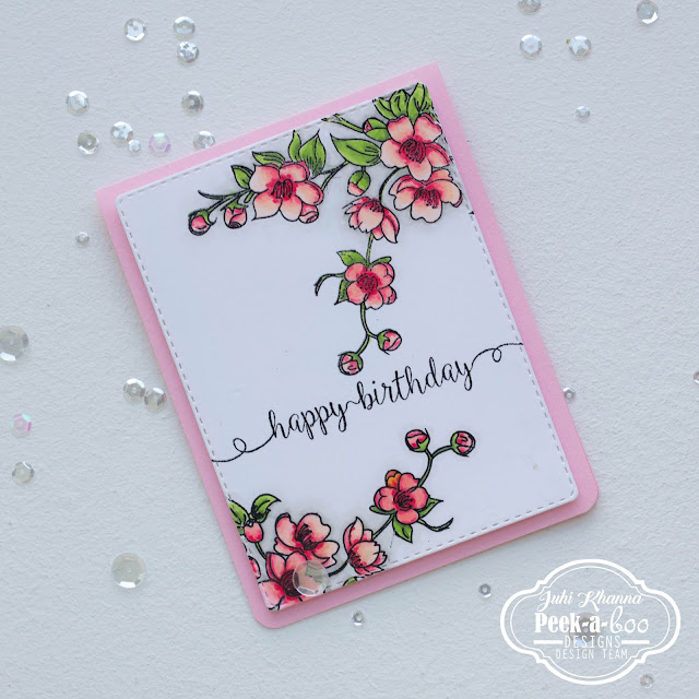 CAS card with Peek-a-boo designs stamps. Images colored with copic markers.