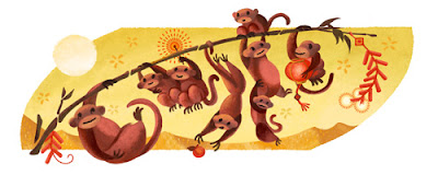 google doodle, chinese new year, 2016, year of the monkey