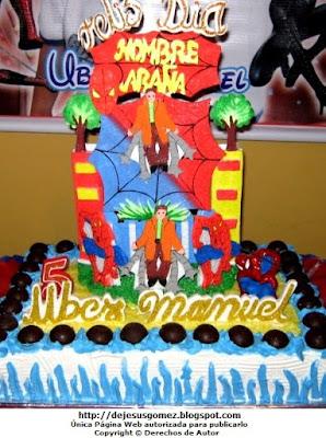 Foto de torta alusivo al Hombre araña para niño. Foto de torta perteneciente a Jesus Gómez