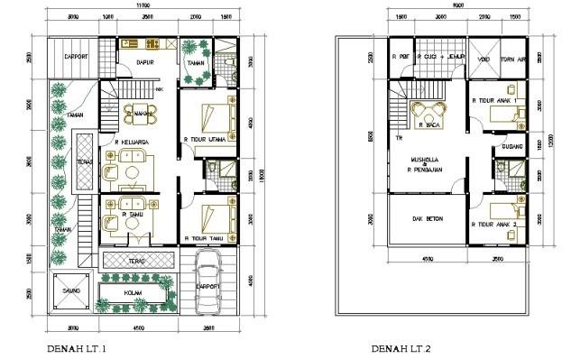 gambar denah rumah minimalis 2 kamar tidur 1
