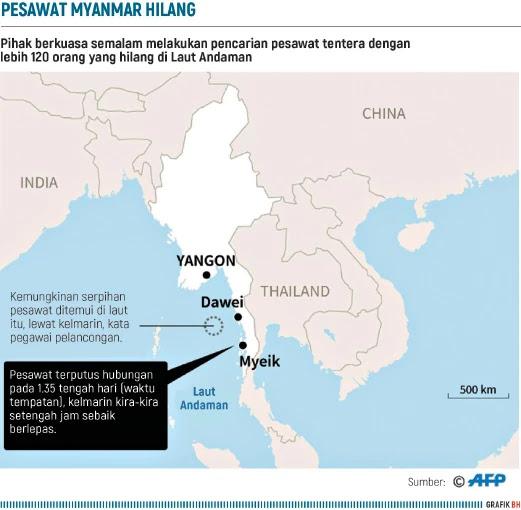 Myanmar Berjaya Temui Pesawat Hilang di Laut Andaman Tanpa Bantuan Luar