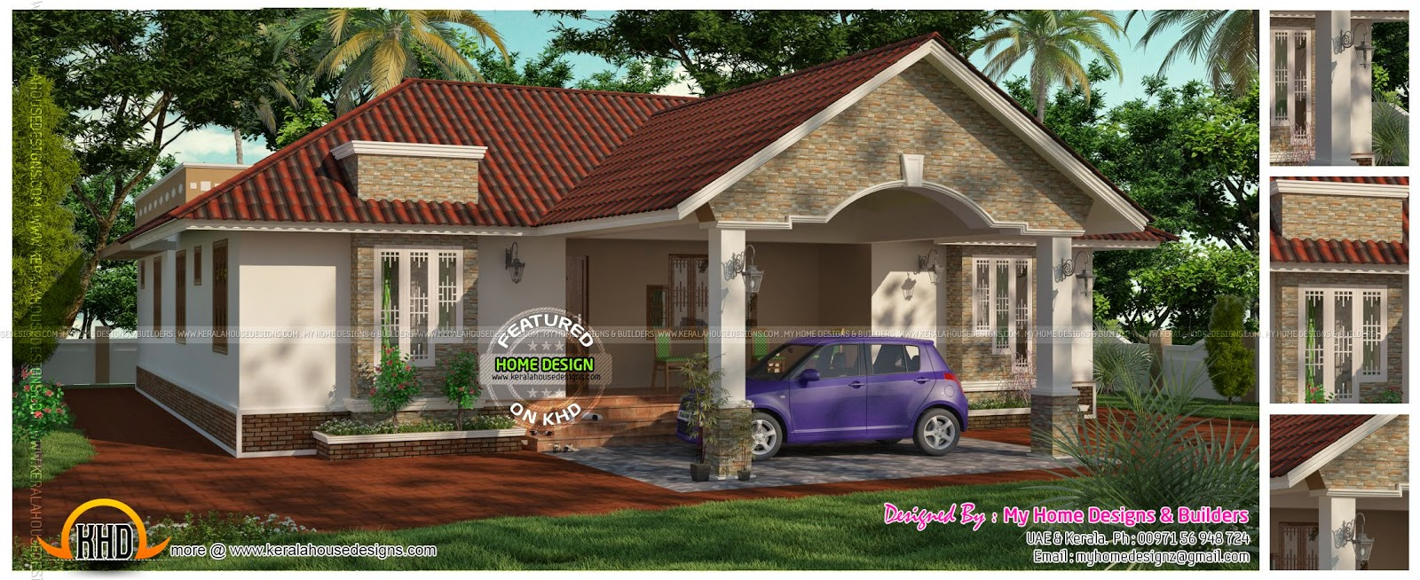 3 bedroom 2 attached one floor house kerala home design for One floor house design plans 3d