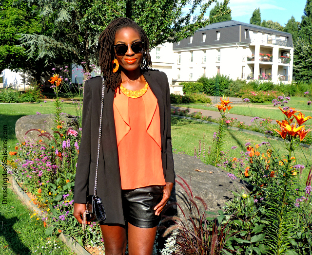 Lookbook | Faux Leather short x Orange Ruffles Lunettes Celine Sac Valentino