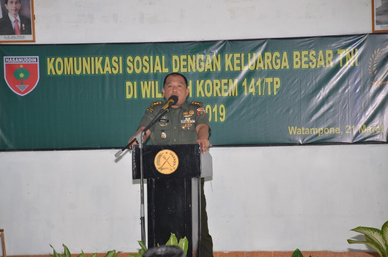 Hadapi Pemilu, Korem 141/Tp Laksanakan Komsos Dengan Keluarga Besar TNI dan FKPPI