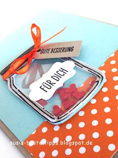 """stampin Up Karte mit Stempelset glasklare grüße und framelits Einweckgläser für eine Schüttelkarte """"Gute Besserung"""""""