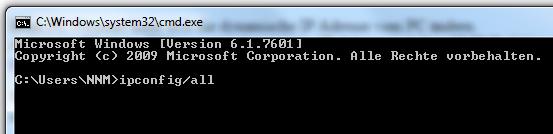 Windows CMD automatische IP Adresse anzeigen