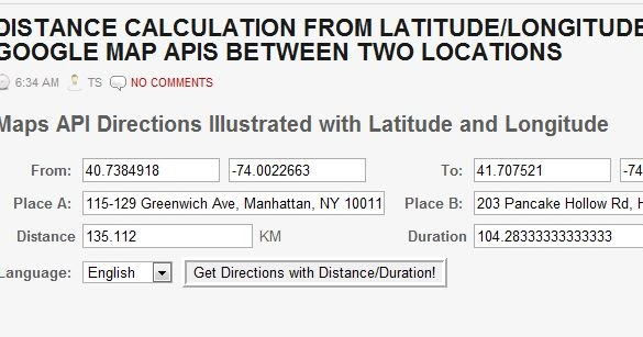 Distance Calculation from Latitude/Longitude using Google