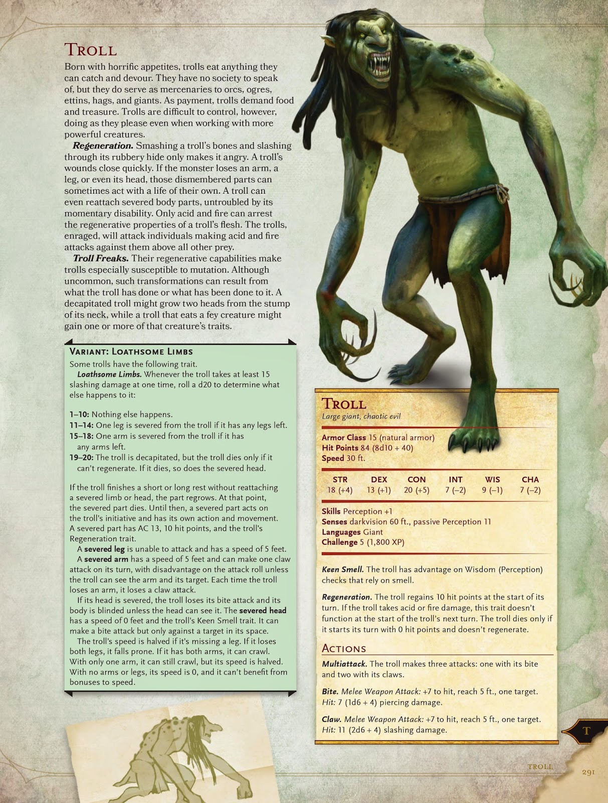 D&D Monster Manual Entry for the Troll.