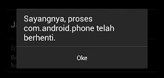 Sayangnya, Proses com.android.phone Telah Berhenti
