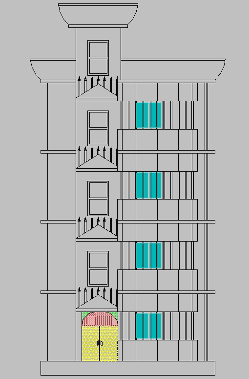 auto cad 2d plan and 3d elevation design of structure
