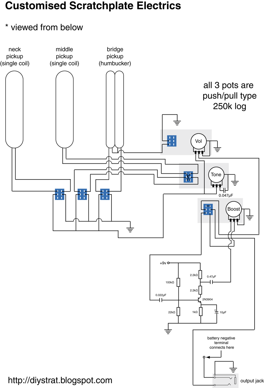 April 2008 Diy Strat And Other Guitar Audio Projects Humbucker Schematics Ok Here Are The For Electrics Click Bigger Image It Is Viewed From Below Remember That This Based Around Two Single Coils A