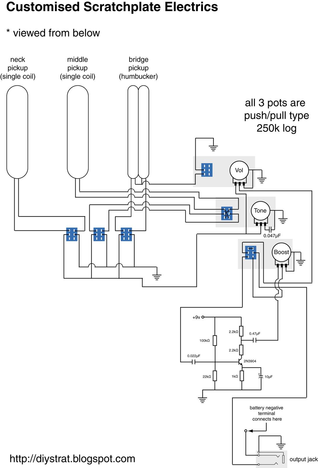 humbucker strat schematics