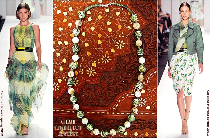 Glam Chameleon Jewelry agate and ceramic beads necklace