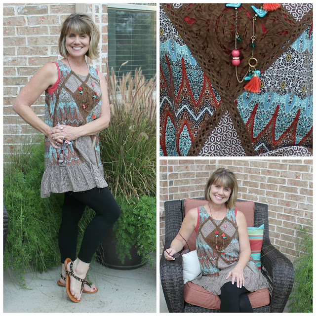 Sweet Medley tunic, what to wear with leggings, leggings and a tunic, summer to fall transition, fashion transition summer to fall, Glamour Farms