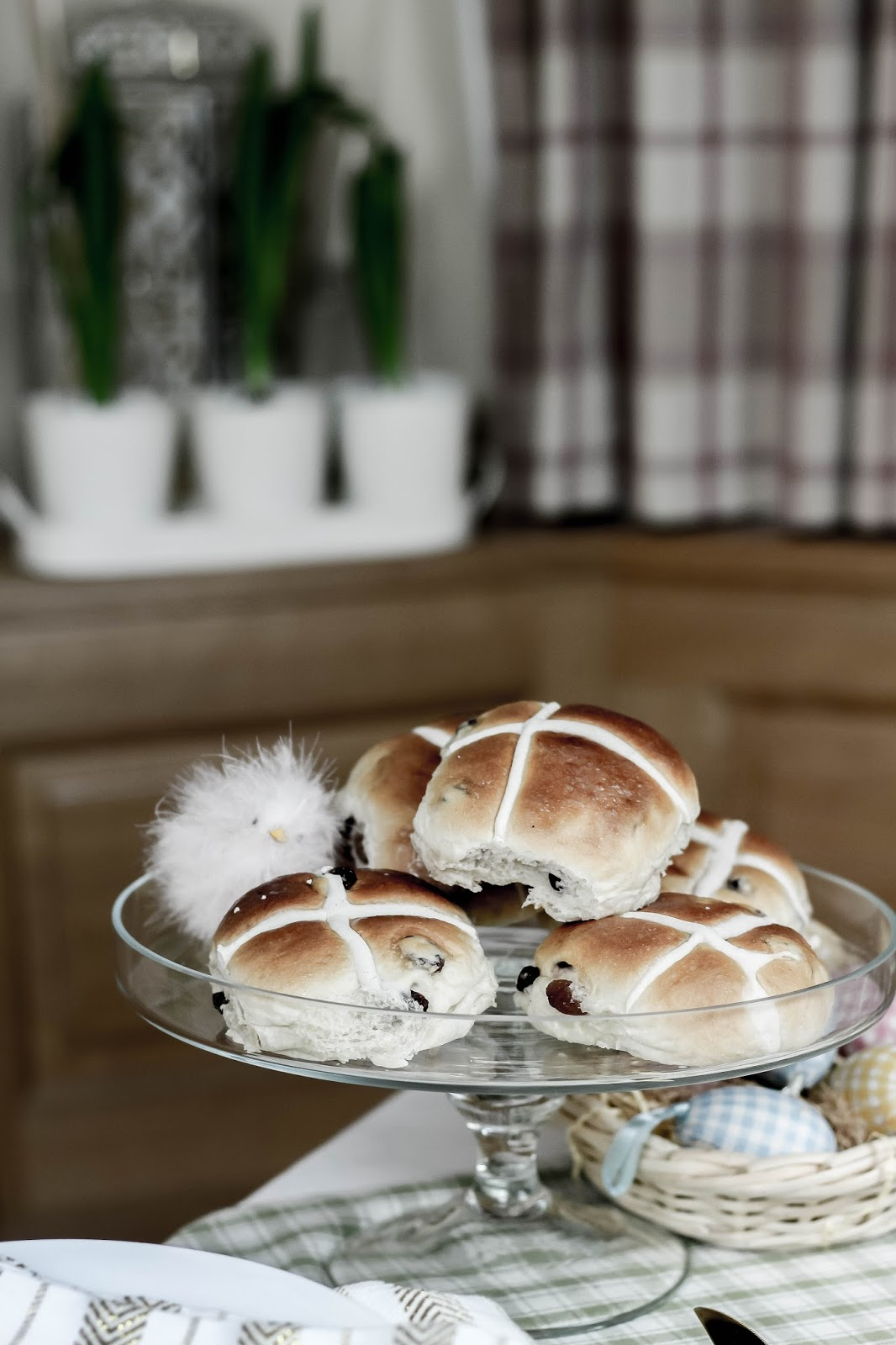 Hot Cross Buns Stacked on Cake Stand