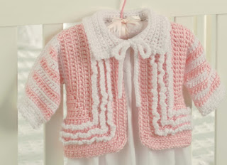 Ruffled crochet sweater pattern for baby