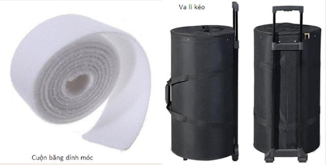 Cuộn băng dính móc và vali kéo