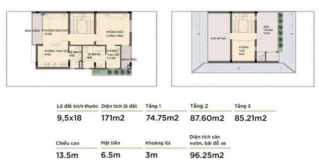 Mẫu biệt thự 2 - Tầng 1 và tầng 2 An Phú Shop Villa