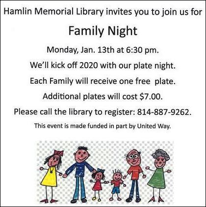 1-13 Family Night, Hamlin Memorial Library, Smethport