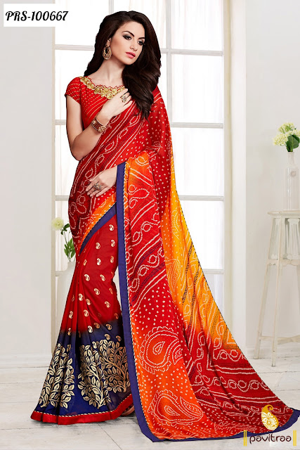 Red and Black Color Designer Wedding and Party Wear Bandhej Print Saree for Sale in India
