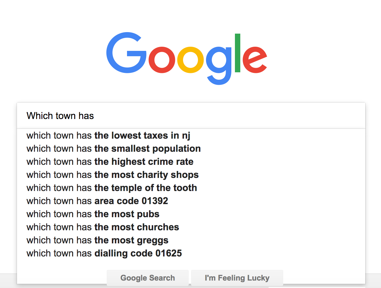 Across the Board: Google Search: Which town has?....