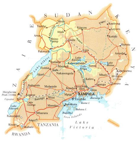 Uganda | Mapas Geográficos de Uganda
