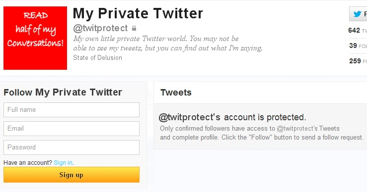 private twitter account