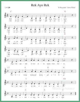 notasi balok rek ayo rek lagu daerah jawa timur