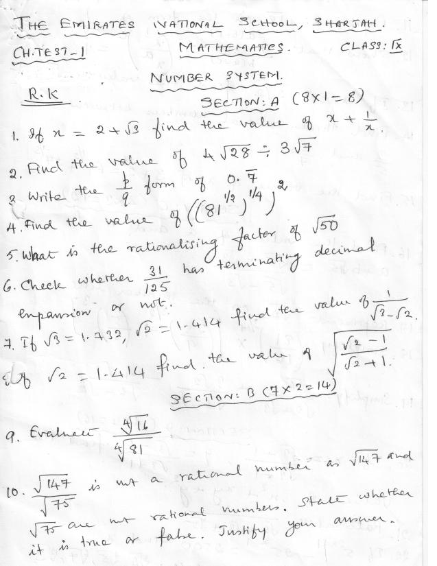 Prajam Math Genius: Class 9 Number system test Question ...