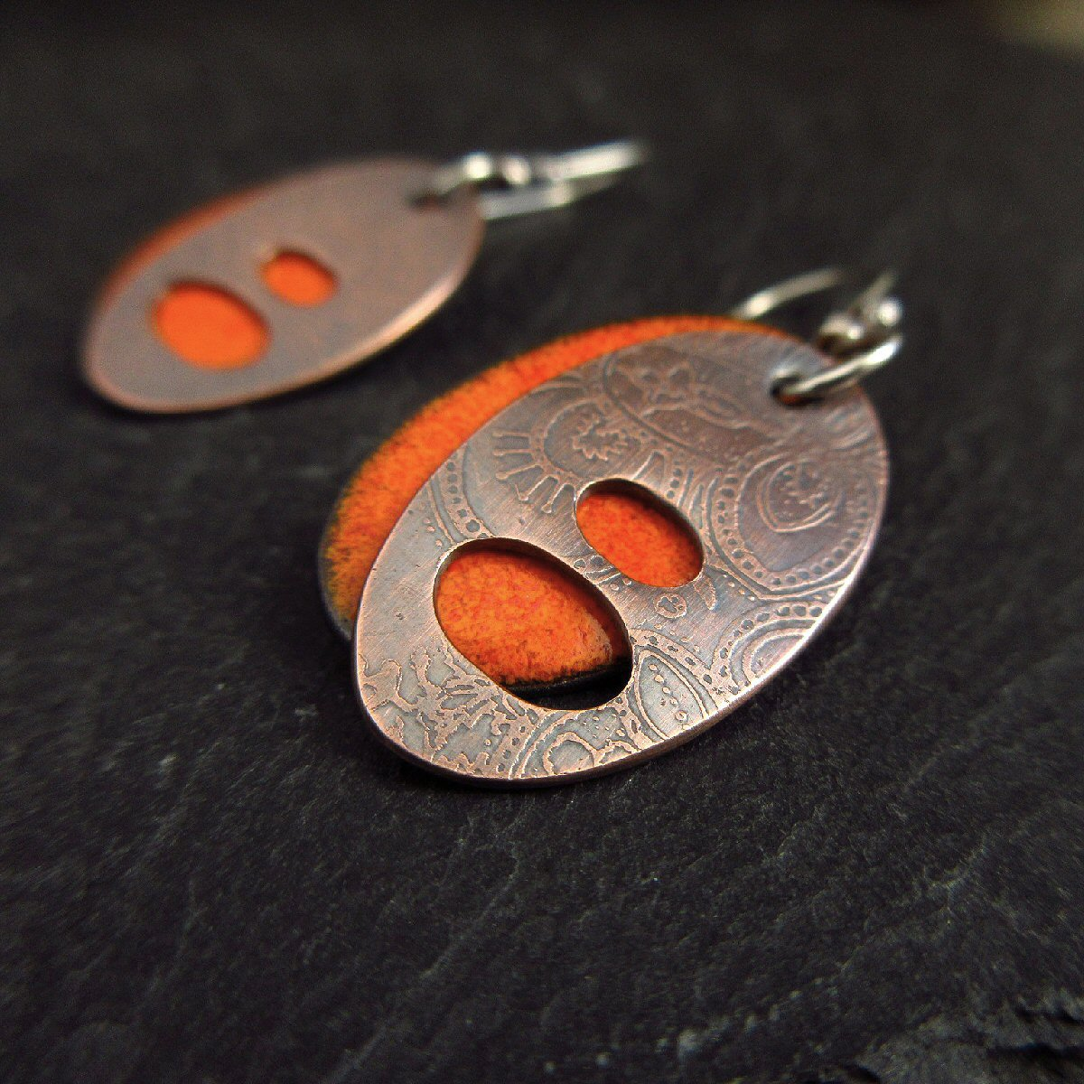Hand Crafted Enamel House Necklace Pendant Copper Home: Enamel Earrings And Copper Bangles