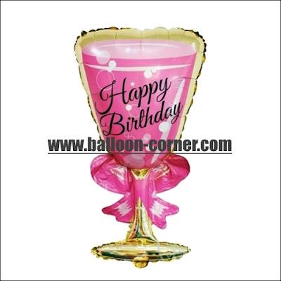 Balon Foil HAPPY BIRTHDAY Gelas Wine