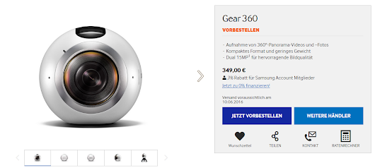 Samsung Gear 360 release date in some EU countries: June 10-11