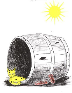 Solitary Pickles lies in a barrel and does not know what to do