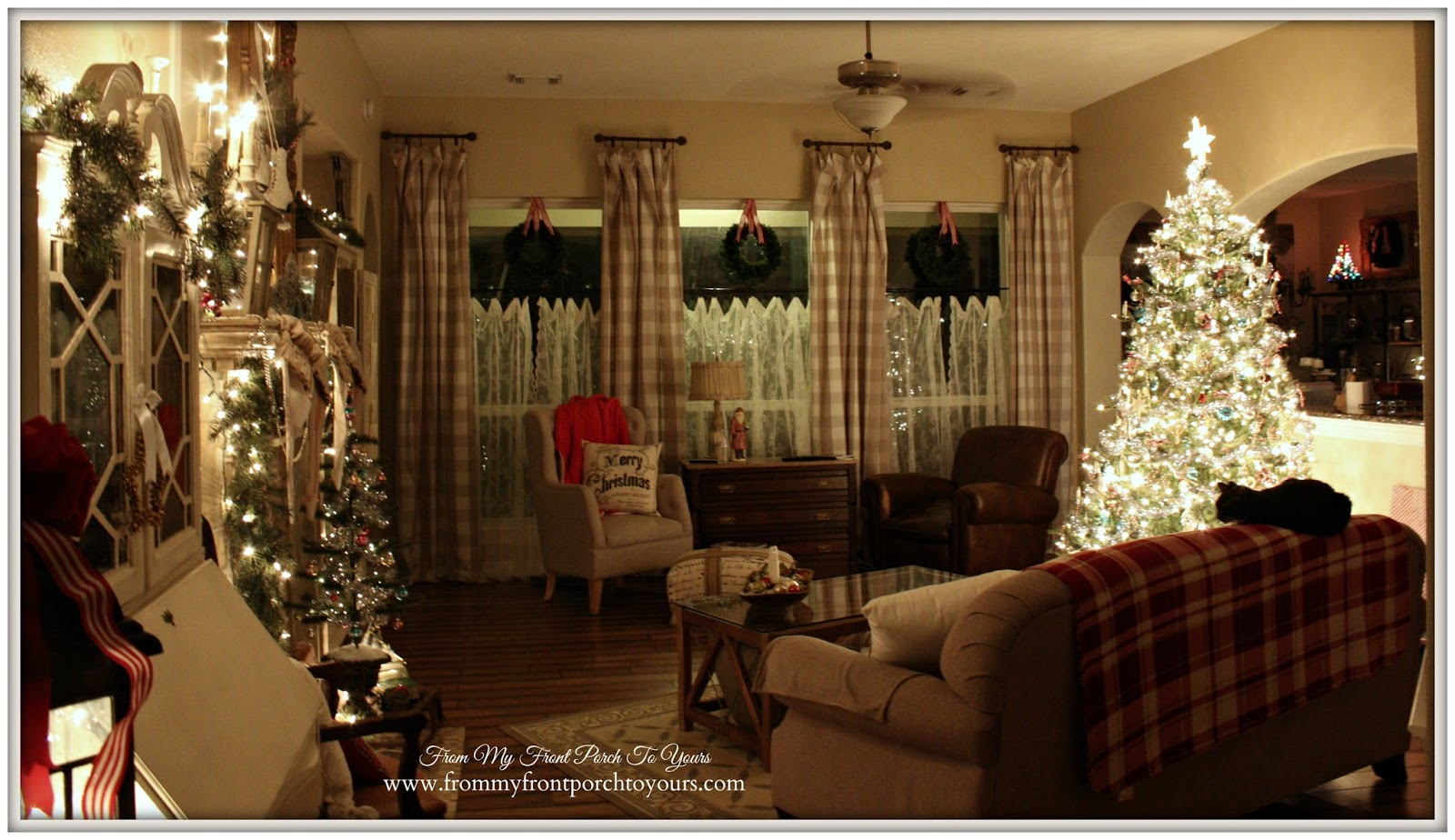 Farmhouse- Vintage -Christmas- Living Room-Christmas Lights At Night- From My Front Porch To Yours