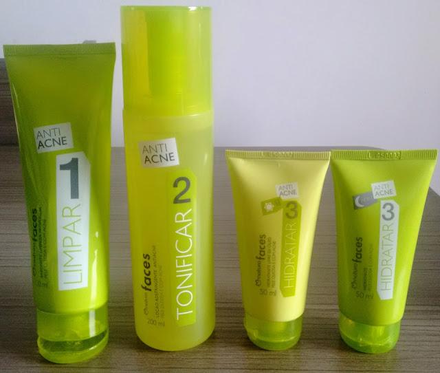 linha  de cuidados diarios da Natura Faces Anti-Acne para peles oleosas