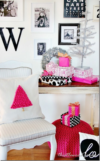pink pom pom christmas tree pillow