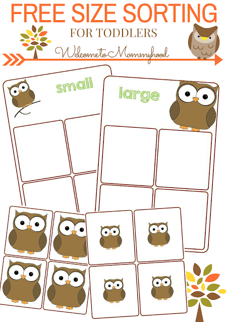Free size sorting printable for toddlers by Welcome to Mommyhood #premath, #toddleractivities, #Montessoriactivities, #montessori, #montessoriprintables