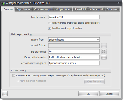 Customize how MessageExport saves emails to txt format.