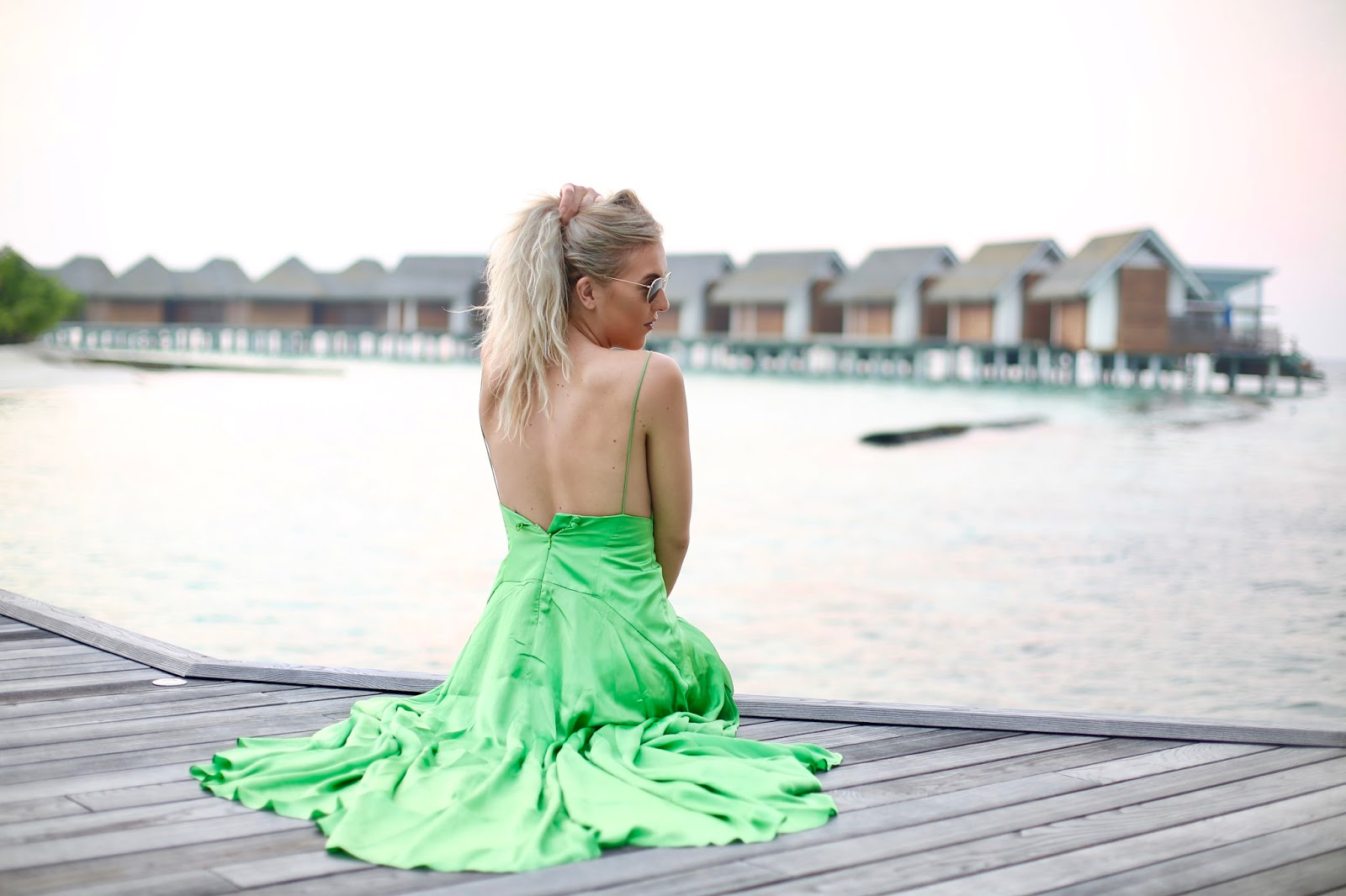 green backless dress