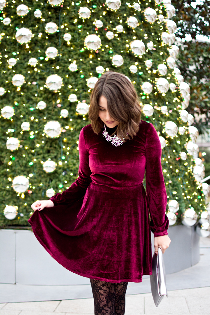 holiday party dress, velvet dress, 2016 holiday party ideas, holiday party outfit ideas, velvet and lace holiday party outfit, red holiday dress, red dress