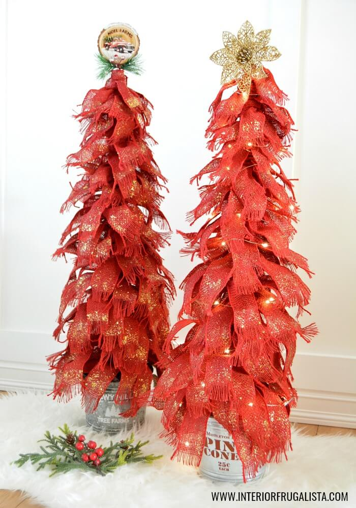 Red Burlap Ribbon Tabletop Christmas Trees With Fairy Lights