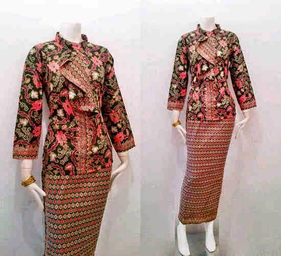 Model Baju Batik Kantor Terbaru Wanita Kombinasi Atas