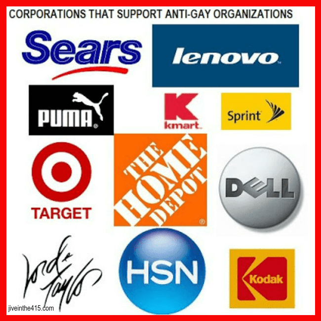 The company logos of retail stores supporting anti-gay groups, Target, Lenovo, Home Depot, HSN, Puma, Sears.