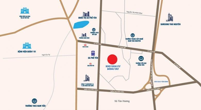 Vị trí dự án khu dân cư Đông Tây Phổ Yên
