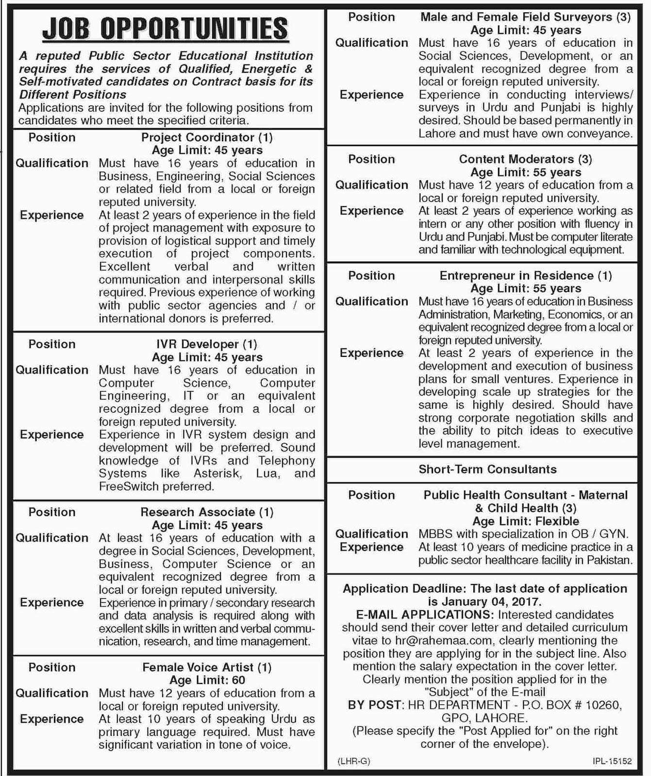 Jobs in Public Sector Organization Lahore