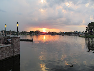 Sunset evening at epcot and the lagoon