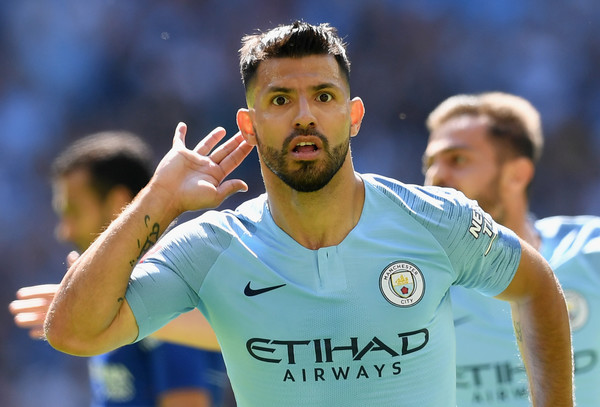Aguero celebrates scoring during Manchester 2-0 win over Chelsea in the 2018 Community shield match
